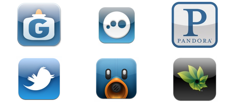 Screenshot of more iOS app icons with faux highlights